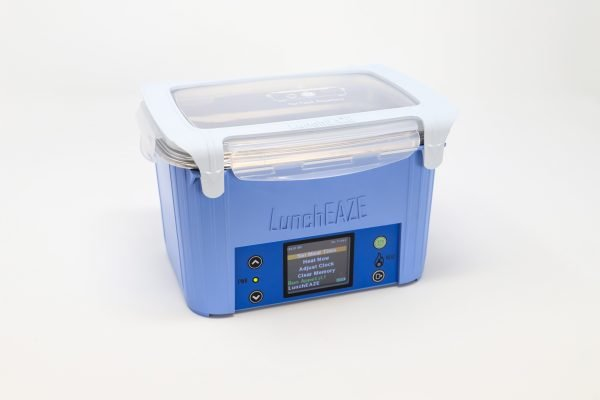 Blue automatic, self-heated, battery-powered portable lunchbox
