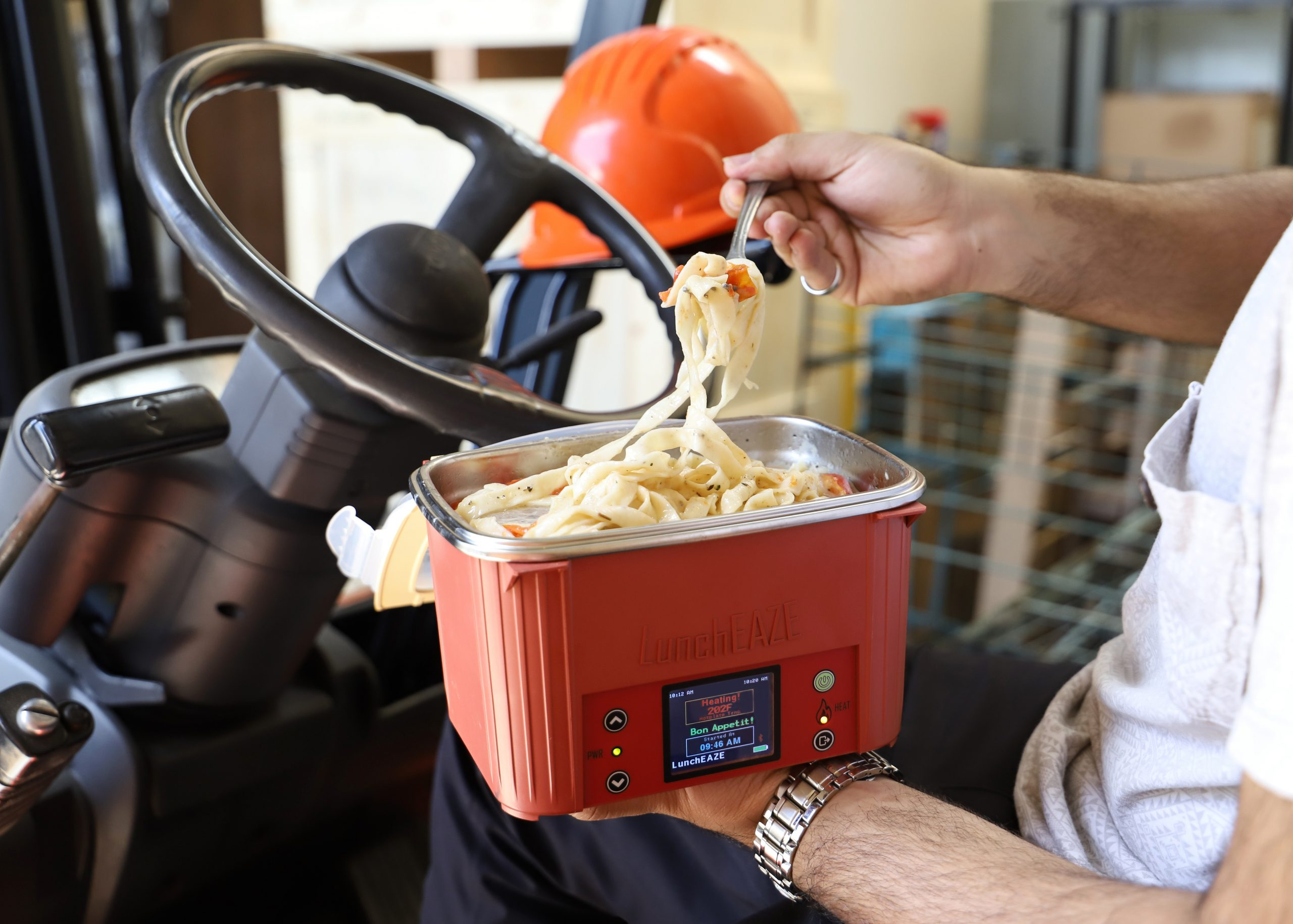 LunchEAZE heated lunch box at work