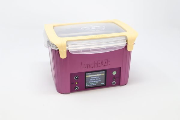 Purple automatic, self-heated, battery-powered portable lunchbox