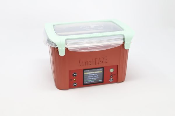 Red automatic, self-heated, battery-powered portable lunchbox