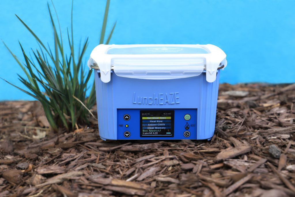 Blue high-tech, self-heating lunchbox