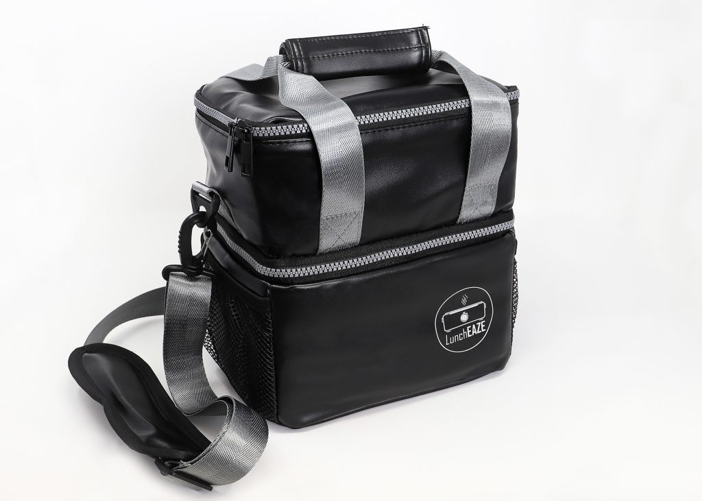 LunchEAZE upgraded insulated black lunch bag