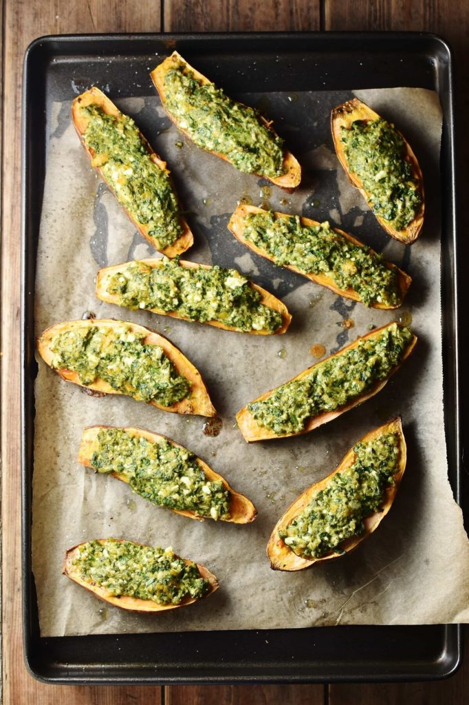 Spinach Stuffed Sweet Potatoes